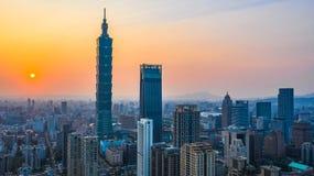 Taiwan city skyline at sunset, The beautiful sunset of Taipei, Aerial view Taiwan city skyline.  royalty free stock photos