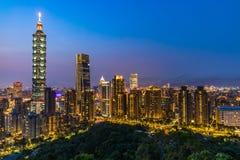 Taiwan city skyline at twilight , The beautiful sunset of Taipei, Aerial view Taiwan city skyline.  stock images
