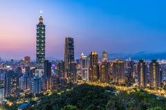 Taiwan city skyline at twilight , The beautiful sunset of Taipei, Aerial view Taiwan city skyline.  stock photography
