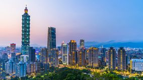 Taiwan city skyline at twilight , The beautiful sunset of Taipei, Aerial view Taiwan city skyline and skyscraper.  royalty free stock images