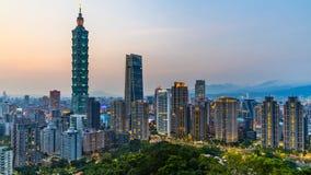 Taiwan city skyline at twilight , The beautiful sunset of Taipei, Aerial view Taiwan city skyline and skyscraper.  stock photography