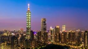 Taiwan city skyline at twilight , The beautiful sunset of Taipei, Aerial view Taiwan city skyline and skyscraper.  royalty free stock image
