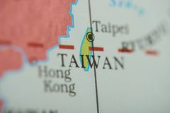 Taiwan country on paper map. Close up view stock image