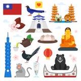 Taiwan cultural symbols. Vector flat style set of Taiwan cultural symbols. Isolated on white background Royalty Free Stock Images