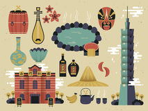 Taiwan culture. Traditional Taiwan culture collections in flat design Royalty Free Stock Photos