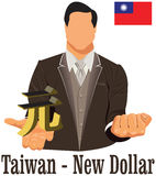 Taiwan currency symbol new dollar representing money and Flag. Vector design concept of businessman in suit with his open hand over with currency isolated on Royalty Free Stock Photography
