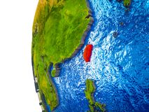 Taiwan on 3D Earth. Taiwan highlighted on 3D Earth with visible countries and watery oceans. 3D illustration royalty free stock images