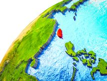 Taiwan on 3D Earth. Model with visible country borders. 3D illustration stock images