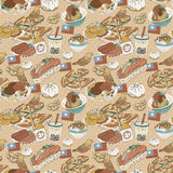 Taiwan delicious snacks seamless pattern Royalty Free Stock Photo