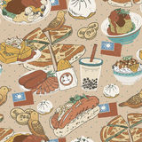 Taiwan delicious snacks seamless pattern. In flat style vector illustration