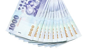 Taiwan dollar banknotes on white background Stock Photography
