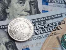 Taiwan dollar to us dollar exchange on dollars background stock photography
