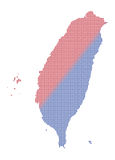 Taiwan Dot Map Red And Blue Fotografia Stock
