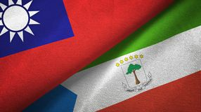 Taiwan and Equatorial Guinea two flags textile cloth, fabric texture. Taiwan and Equatorial Guinea two folded flags together stock illustration
