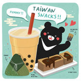 Taiwan famous snacks. And a big black bear Royalty Free Stock Images