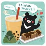 Taiwan famous snacks. And a big black bear royalty free illustration