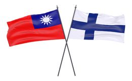 Two crossed flags. Taiwan and Finland, two crossed flags isolated on white background. 3d image Royalty Free Stock Images