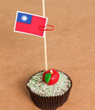 Taiwan flag on a apple cupcake. Picture of a stock images