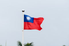Taiwan flag blowing in wind. Motion blur stock images