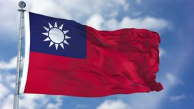 Taiwan Flag in a Blue Sky. Use this clip loud and proud to express loyalty and love to our country. It is a seamless loop with luma channel stock photography