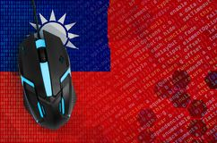 Taiwan flag and computer mouse. Digital threat, illegal actions on the Internet. Taiwan flag and modern backlit computer mouse. The concept of digital threat stock image