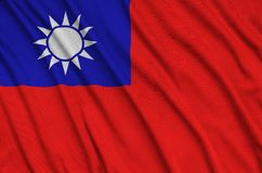 Taiwan flag is depicted on a sports cloth fabric with many folds. Sport team banner. Taiwan flag is depicted on a sports cloth fabric with many folds. Sport team royalty free illustration