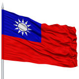 Taiwan Flag on Flagpole. Flying in the Wind, Isolated on White Background royalty free stock photos