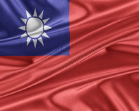 Taiwan flag with a glossy silk texture. Royalty Free Stock Photography