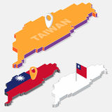 Taiwan flag on map element with 3D isometric shape isolated on background Stock Photo