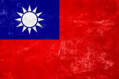 Taiwan Flag. Taiwan - Flag on Old Grunge Texture Background royalty free stock images