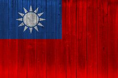 Taiwan flag painted on old wood plank. Patriotic background. National flag of Taiwan royalty free stock image