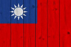 Taiwan flag painted on old wood plank. Patriotic background. National flag of Taiwan stock photos