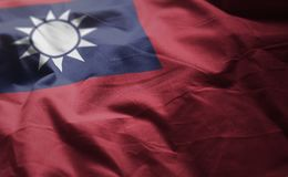 Taiwan Flag Rumpled Close Up.  stock image