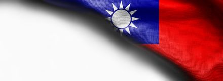 Taiwan Flag on white background. Right top corner flag royalty free stock photos