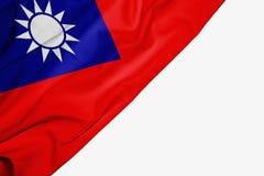 Taiwan flagga av tyg med copyspace för din text på vit bakgrund stock illustrationer