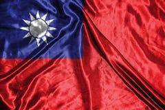 Taiwan flagga flagga på bakgrund Royaltyfria Bilder