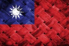 Taiwan flagga, flagga på trät Royaltyfri Bild
