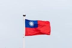 Taiwan-Flagge, die im Wind durchbrennt Lizenzfreie Stockbilder