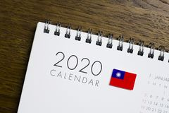 Taiwan-Flaggen-2020 Kalender stockfoto