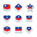 Taiwan flags icons and button set nine styles Royalty Free Stock Image