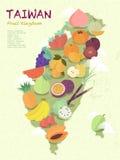 Taiwan fruit map. Adorable Taiwan fruit kingdom map in flat design Royalty Free Stock Images