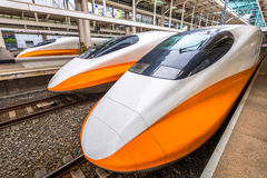 Taiwan High Speed Rail. MARCH 15, 2017: KAOHSIUNG, TAIWAN: The Taiwan High Speed Rail at Zuoying Station. The line spans the west coast of Taiwan, from the royalty free stock photo