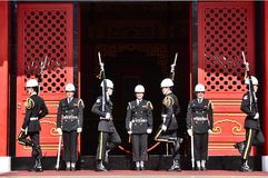 National Revolutionary Martyrs` Shrine. Taiwan honor guard in handing-over ceremony at National Revolutionary Martyrs` Shrine on January 3rd, 2018 in Taipei Stock Photography