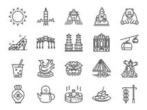 Taiwan icon set. Included the icons as Taipei, Chinese stone lion, bubble tea, Distilled Liquor, tea, stinky tofu, bear and more. Vector and illustration: Taiwan vector illustration