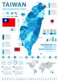 Taiwan - infographic översikt och flagga - detaljerad vektorillustration royaltyfri illustrationer