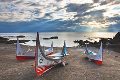 Taiwan island style. Taiwan Taitung Orchid Island Aboriginal canoe Royalty Free Stock Photo