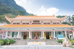TAIWAN - Jan 18 2016: Xiangde Temple at Taroko National Park. a famous landscape in Hualien, Taiwan. Stock Photography