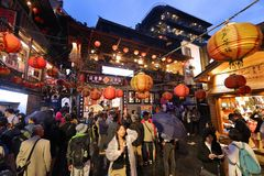 Taiwan - Jiufen tourists royalty free stock photo