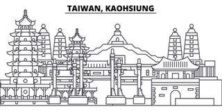 Taiwan, Kaohsiung-de vectorillustratie van de lijnhorizon Taiwan, lineaire cityscape van Kaohsiung met beroemde oriëntatiepunten, stock illustratie