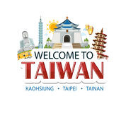 Taiwan lettering sticker Royalty Free Stock Photography